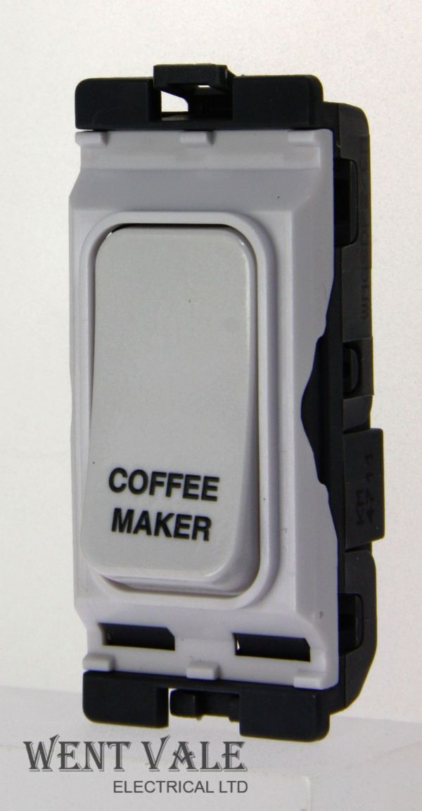 "Hager Sollysta Grid WMGSDP2/CM - 20a D/Pole Grid Switch Printed ""Coffee Maker""."